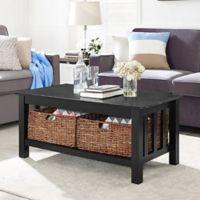 Walker Edison 40-Inch Storage Coffee Table in Black