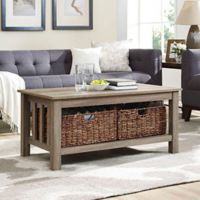 Walker Edison 40-Inch Storage Coffee Table in Driftwood