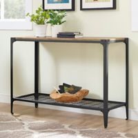 Walker Edison Angle Iron Accent Table in Barnwood