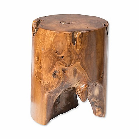 Zuo Modern Petro Teak Table Stool In Antique Gold
