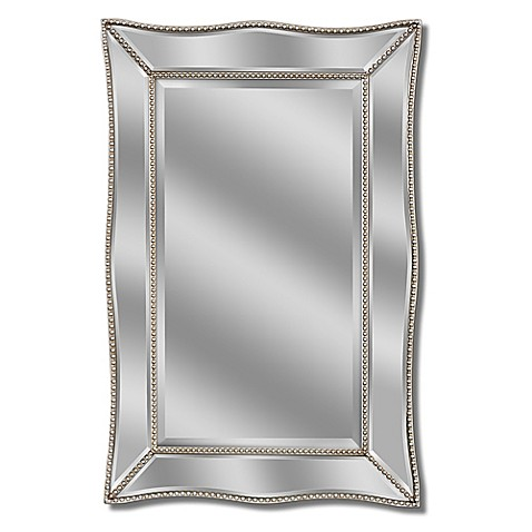 Scalloped metro 2 foot x 3 foot beaded mirror in silver for 7 foot mirror