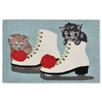 Liora Manne Frontporch Ice Skates and Kittens 1-Foot 8-Inch x 2-Foot 6-Inch Indoor/Outdoor Mat