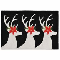 Liora Manne Frontporch Reindeer 1-Foot 8-Inch x 2-Foot 6-Inch Indoor/Outdoor Mat in Black