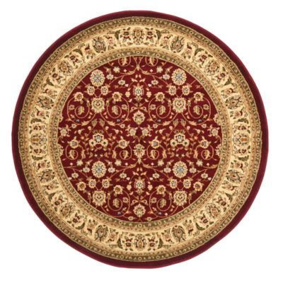 Safavieh Lyndhurst Red And Ivory Scrolling Pattern 8 Foot Round Rug