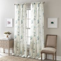 Zen Floral 63-Inch Rod Pocket Semi-Sheer Window Curtain Panel in Blue
