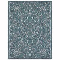 Mosaic Tile 5-Foot x 7-Foot Indoor/Outdoor Area Rug in Blue