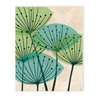 Astra Art 16-Inch x 20-Inch Retro Green And Teal Water Fronds Canvas Wall Art