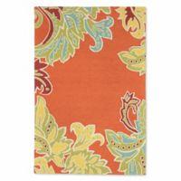Liora Manne Ornamental Leaf 3-Foot 6-Inch x 5-Foot 6-Inch Accent Rug in Orange