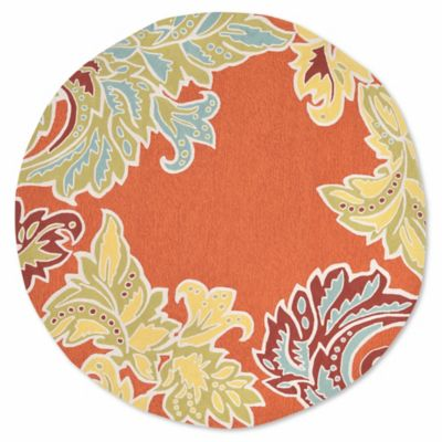 Liora Manne Ornamental Leaf 8 Foot Round Rug In Orange