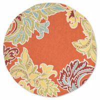 Liora Manne Ornamental Leaf 8-Foot Round Rug in Orange