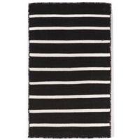 Liora Manne Sorrento Pinstripe 2-Foot x 3-Foot Indoor/Outdoor Accent Rug in Black