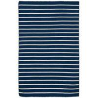 Liora Manne Sorrento Pinstripe 3-Foot 6-Inch x 5-Foot 6-Inch Indoor/Outdoor Area Rug in Navy
