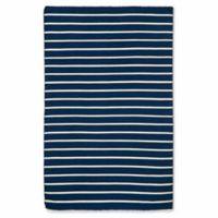 Liora Manne Sorrento Pinstripe 5-Foot x 7-Foot 6-Inch Indoor/Outdoor Area Rug in Navy