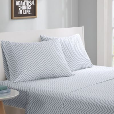 High Quality Intelligent Design® Cotton Blend Jersey Knit Twin Sheet Set In Grey