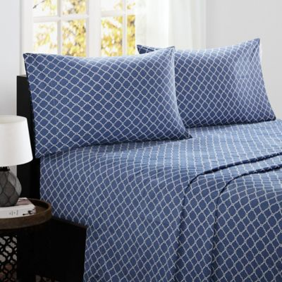 Charming Madison Park Fretwork Cotton California King Sheet Set In Navy