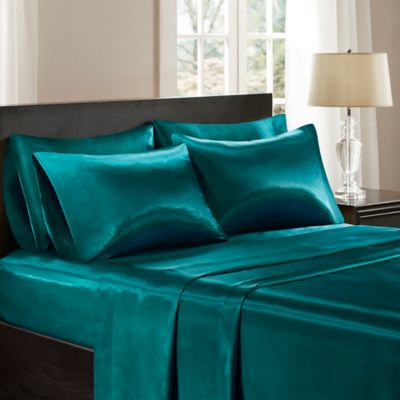 Marvelous Madison Park Essentials Satin California King Sheet Set In Teal