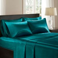 Madison Park Essentials Satin California King Sheet Set In Teal