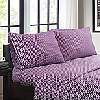 Intelligent Design Chevron Queen Sheet Set in Purple