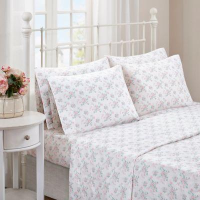 Madison Park Comfort Wash Floral King Sheet Set In Pink