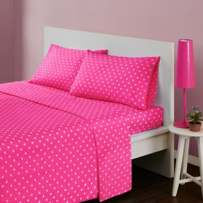 Mi Zone Polka Dot Twin Sheet Set In Dark Pink