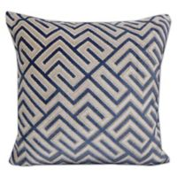 Greek Key Velvet Throw Pillow in Blue
