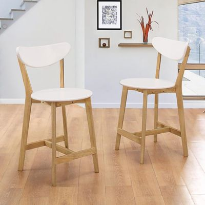 Walker Edison Retro Modern Barstool In White/Natural (Set Of 2)