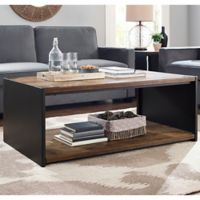 Walker Edison Steel Plate and Wood Coffee Table in Brown