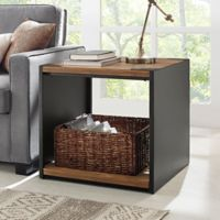 Walker Edison Steel Plate and Wood Side Table in Brown