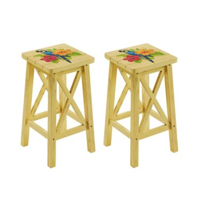 outdoor parrot bar stools in yellow set of 2