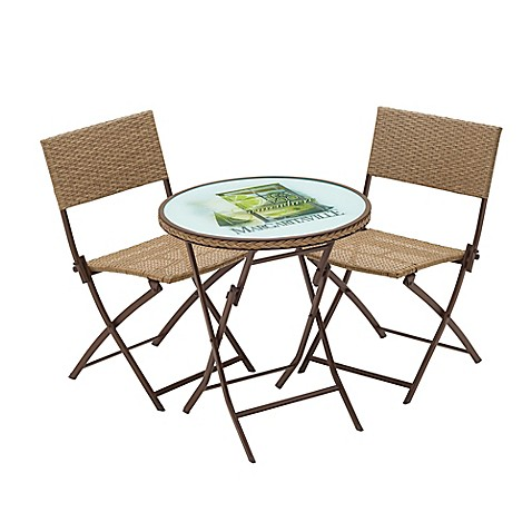 Margaritaville hemmingway 3 piece outdoor wicker bistro set in brown bed bath beyond - Bistro sets for small spaces collection ...