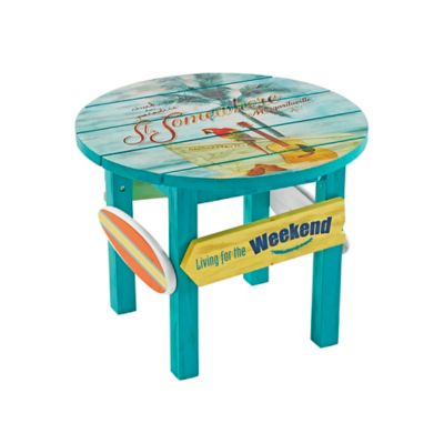 Exceptional Margaritaville® Outdoor Classic Wood Round Side Table In Blue