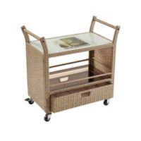 Margaritaville® Outdoor Rolling Wicker Bar Cart in Brown
