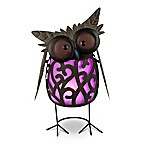 Solar Lighted Metal Owl in Purple