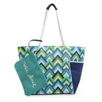 Insulated Beach Tote with Wet Suit Pouch in Chevron