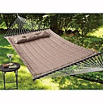 Reversible Woven Hammock with Pillow in Tan