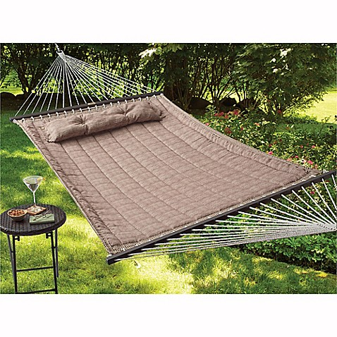 Reversible Woven Hammock With Pillow In Tan Bed Bath
