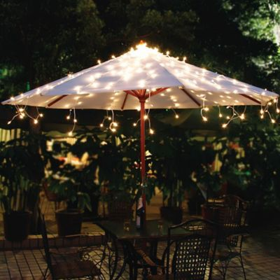Solar Umbrella String Lights In White