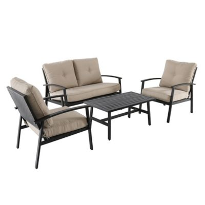 4piece punch metal back furniture and seating set
