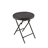 Foldable Wicker Accent Table In Brown