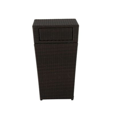 13gallon wicker trash can in brown - Outdoor Trash Cans