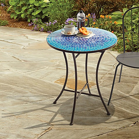 Superbe Outdoor Mosaic Bistro Table In Blue