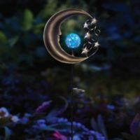 Solar Moon Garden Light Stake in Silver/Blue