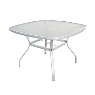 Tempered Glass Dining Table In White