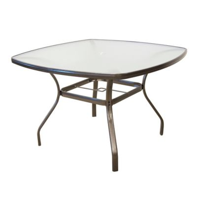 Tempered Glass Dining Table In Bronze