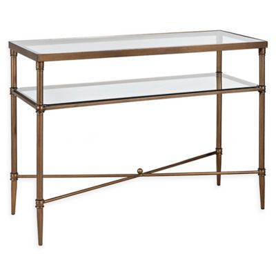 madison park signature porter glass console table in bronze