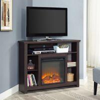 Walker Edison 44-Inch Corner Highboy Fireplace TV Stand in Espresso