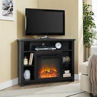 Walker Edison 44-Inch Corner Highboy Fireplace TV Stand in Black