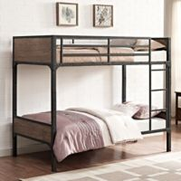 Walker Edison Rustic Industrial Twin-Over-Twin Bunk Bed in Brown