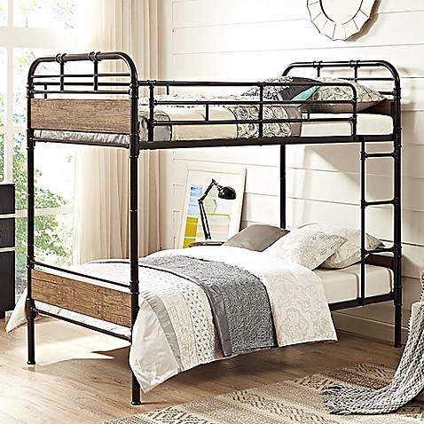 Forest Gate Rustic Industrial Twin Over Twin Bunk Bed