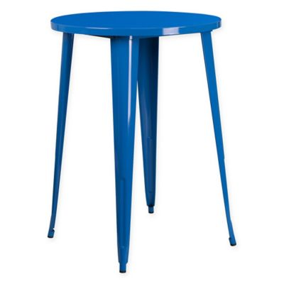 Flash Furniture 30 Inch Round Metal Cafe Table In Blue